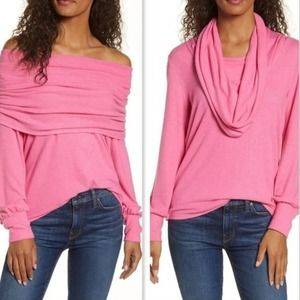 Gibson Sweater Huge Cowl Neck Hot Pink